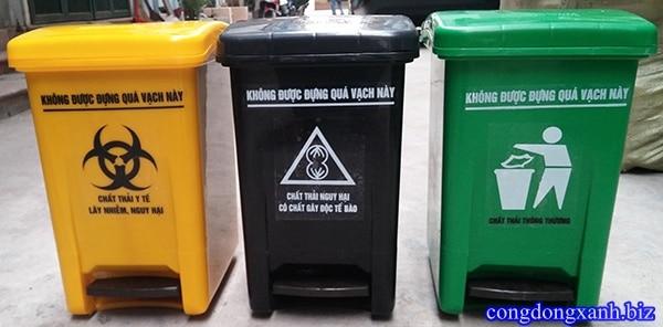 Thùng rác 20L đạp chân, Thùng rác nhựa đạp chân mở nắp MGB 025 màu xanh, vàng, đen