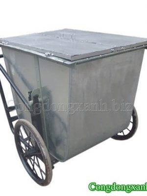 Xe gom rác có nắp đậy 500 lít