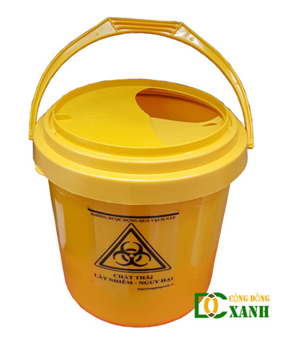 Thùng đựng chất thải y tế không sắc nhọn loại 10 Lít màu vàng