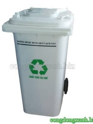 Thùng rác nhựa 240l màu trắng